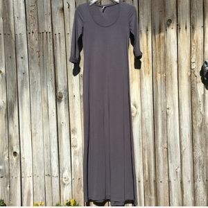 Splendid 3/4 Roll Sleeve Maxi Dress Grey XS